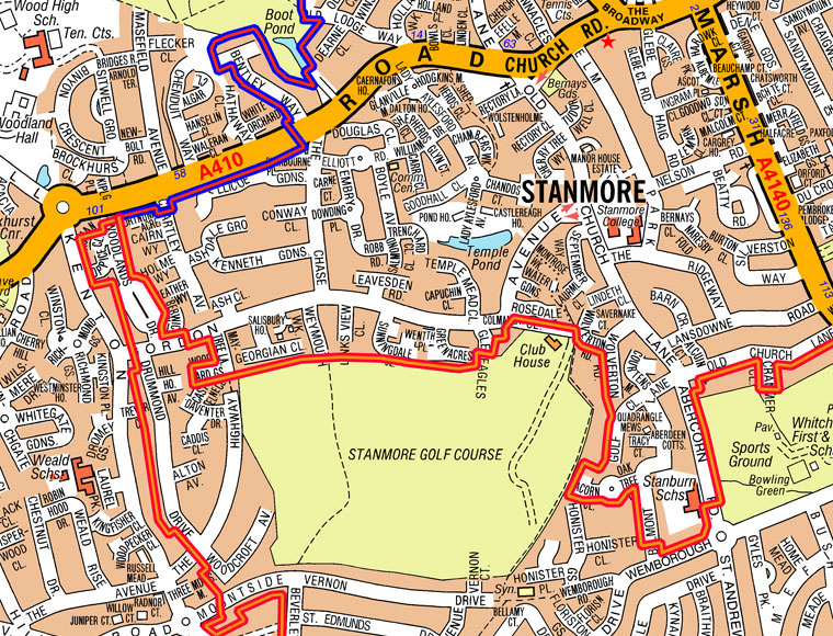 Stanmore Eruv Map North East